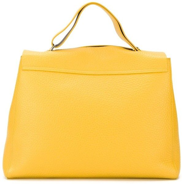Orciani - large flap closure tote - women - Leather - One Size ($353) ❤ liked on Polyvore featuring bags, handbags, tote bags, leather purses, leather handbags, yellow leather tote bag, yellow leather handbag and handbags totes