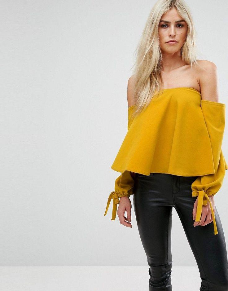 Club L Bardot Swing Top With Tie Sleeve - Yellow