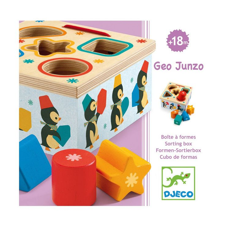 Djeco Geo Pingy Box of Shapes A beautiful shape sorter like no other! A gorgeous design of a penguin family holding different shapes marching around the sides. Complete with the lift off lid in a natural wooden colour. Sort the shapes into their correct holes then lift the lid and start again! Size: 13 x 13 x 6.5cm Age: 18mths+