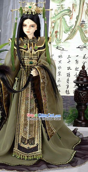 Ancient Chinese Emperor Costume and Crown Complete Set