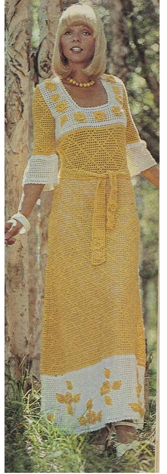 Crochet DRESS Pattern Vintage 70s Crochet Maxi Dress Pattern