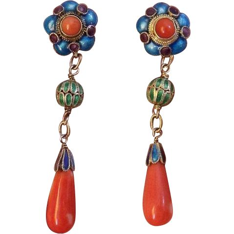 Stunning Vintage Art Deco Chinese Export silver gilt & Enamel long dangling Natural Coral Earrings