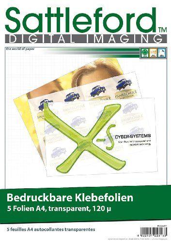 Sattleford 5 Klebefolien A4 transparent f�r Inkjet