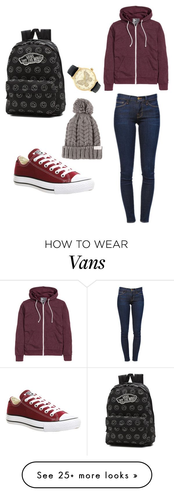 """Maroon Outfit for School"" by casandra-ramos on Polyvore featuring Frame Denim, Converse, Vans and Betsey Johnson"