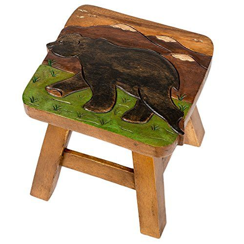 Bear in Mountains Design Hand Carved Acacia Hardwood Decorative Short Stool -- Read more  at the image link. (Amazon affiliate link)