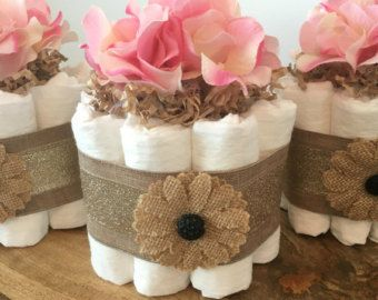 Lacey Burlap Mini Diaper Cakes with Flower by BuzzyDiaperCakes