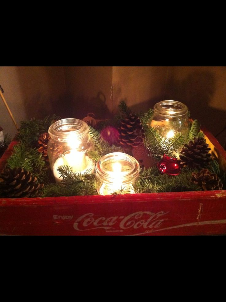 Old Coke crate with Crown jars