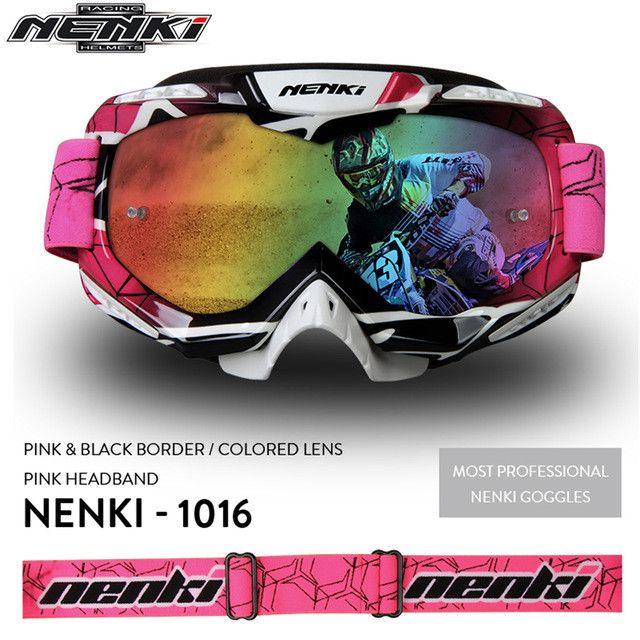 NENKI Professional Adult Motocross Goggles Men Women Motorcycle Racing Eyewear Skiing Snowboard Glasses, Colorful Lens