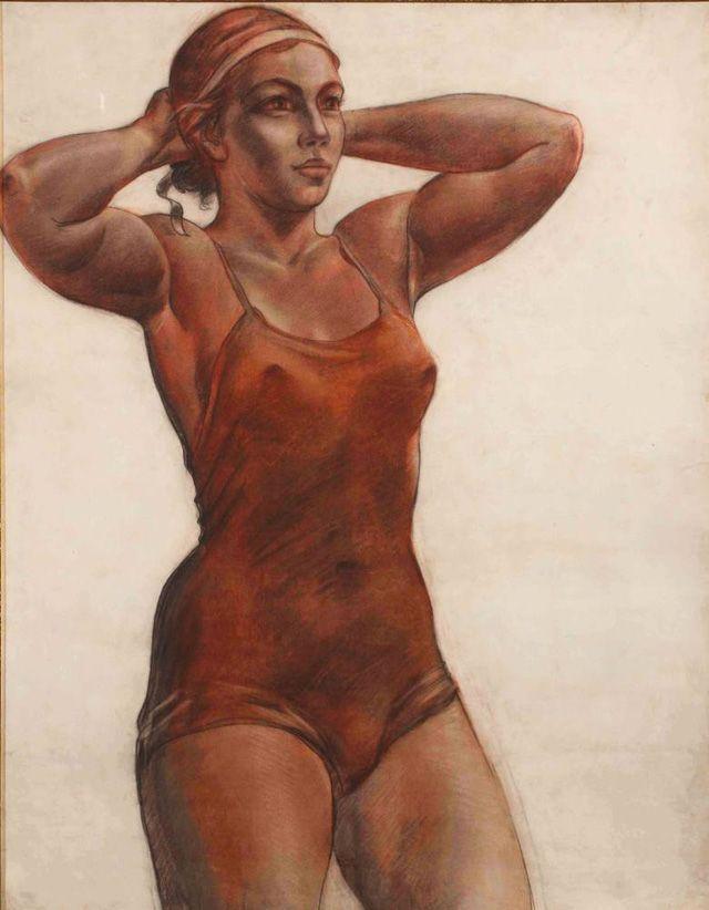 """Александр Александрович Дейнека. """"Спортсменка, завязывающая ленту"""", 1951. Бумага, сангина, уголь"""