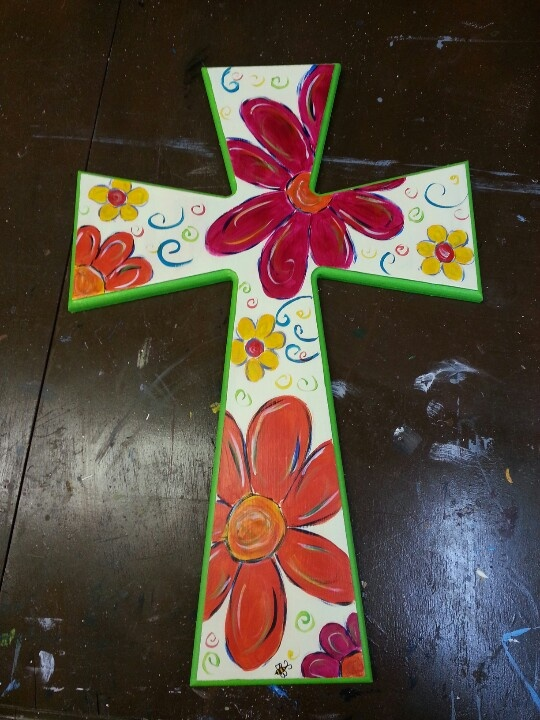 Hand painted wooden cross | Craft Ideas | Pinterest