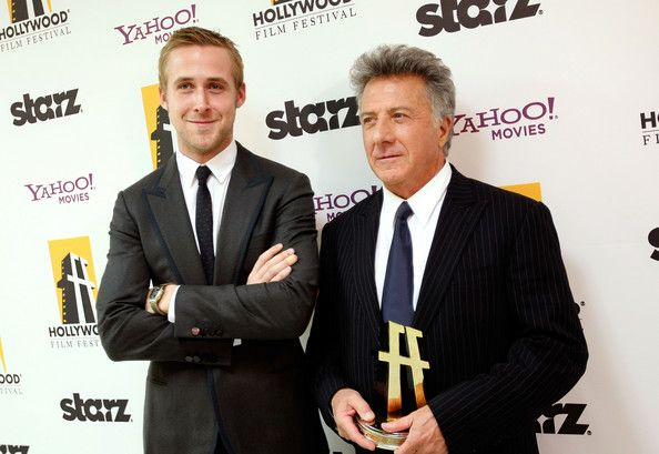 Ryan Gosling Photos Photos - Actor Dustin Hoffman (R) poses with the Hollywood Career Achievement Award with presentor actor Ryan Gosling backstage during the Hollywood Film Festival's Gala Ceremony held at Beverly Hilton Hotel on October 27, 2008 in Beverly Hills, California. - 12th Annual Hollywood Film Festival's Awards Gala - Show