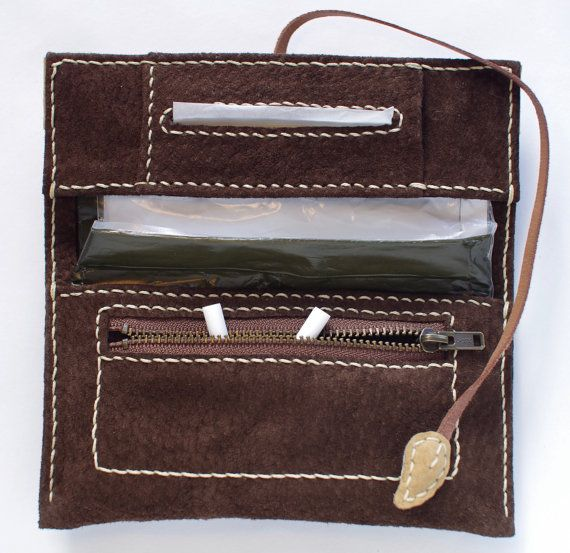 Leather Tobacco Pouch Color: Dark Brown & Beige by TheRoadie