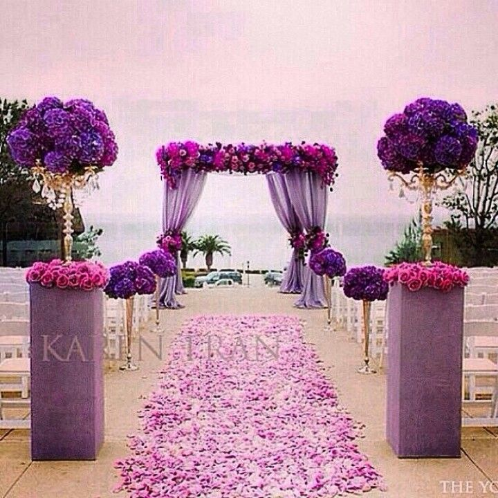 Violet/Purple  Fuschia/Pink Outside Wedding/Venue.  Aisle full of rose petals, white chairs  gold accents.