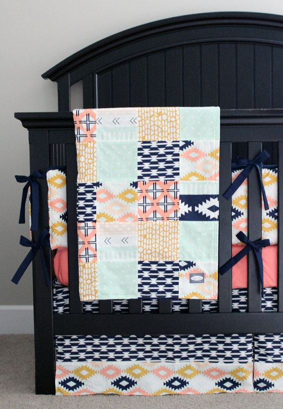 Aztec Crib Bedding Tribal Navy Blue Mint and by GiggleSixBaby