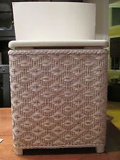 Vintage 'Vogue' White Wicker Small Lingerie Laundry Hamper