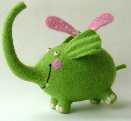 Needle Felted Toy-Green elephant-Felt Toys.