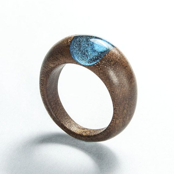 Unique resin and mahogany wood ring