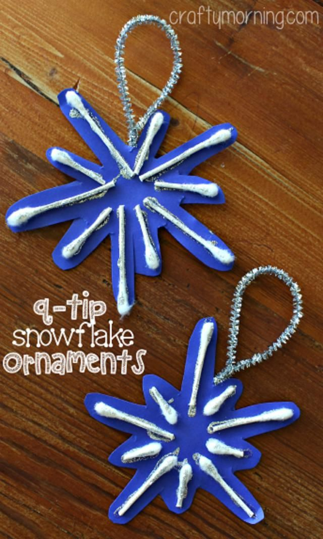 6 Ornaments Kids Can Craft for the Tree: Q-tip Snowflake Ornament Craft