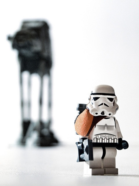 Stormtrooper Portrait by Balakov | LEGO Star Wars Stormtrooper Minifig & AT-AT