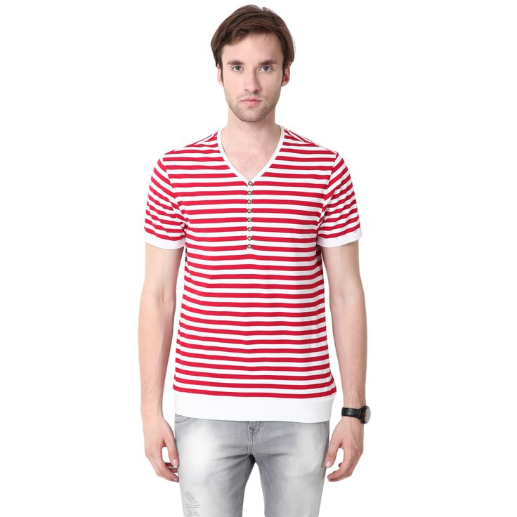 MUDO Y-Neck Red and White Striped Henley for men