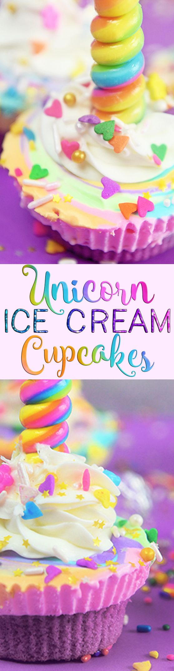 Unicorn Ice Cream Cupcakes are real and they are as magical as they sound!  Perfect for a unicorn themed party or the unicorn lover! via @sprinklesomefun