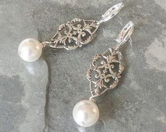 Orecchini di perle, orecchini di perle d'argento, argento perla lampadario orecchini, orecchini perla, orecchini lampadario, Lampadario perla