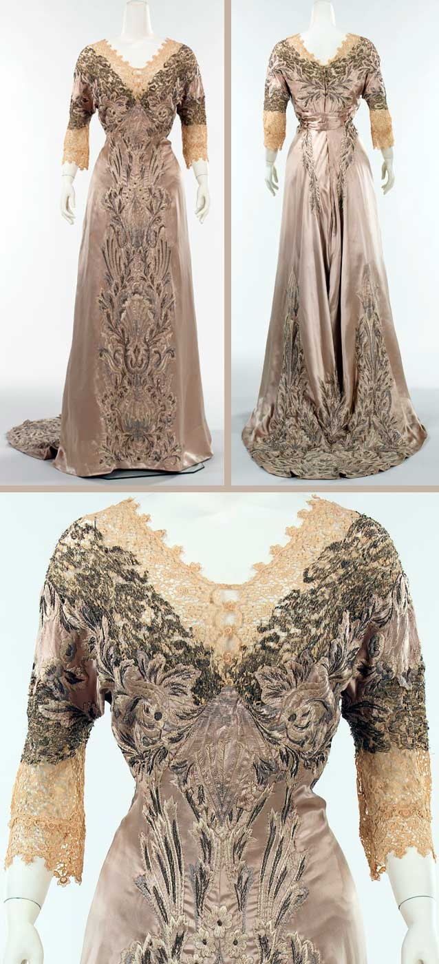 "Dinner dress, attributed to Callot Soeurs, ca. 1908. Silk, bead, linen, metal. Metropolitan Museum of Art: ""The materials used in this gown from 1906-1910 enliven a conventional silhouette. The overall design and varying scale of the embroidery parallels the shape of the dress, and the use of lace, in particular the charming animal and bird motif lace of the sleeves, sets this dress apart from others of the same period in the Brooklyn [Museum] collection."""