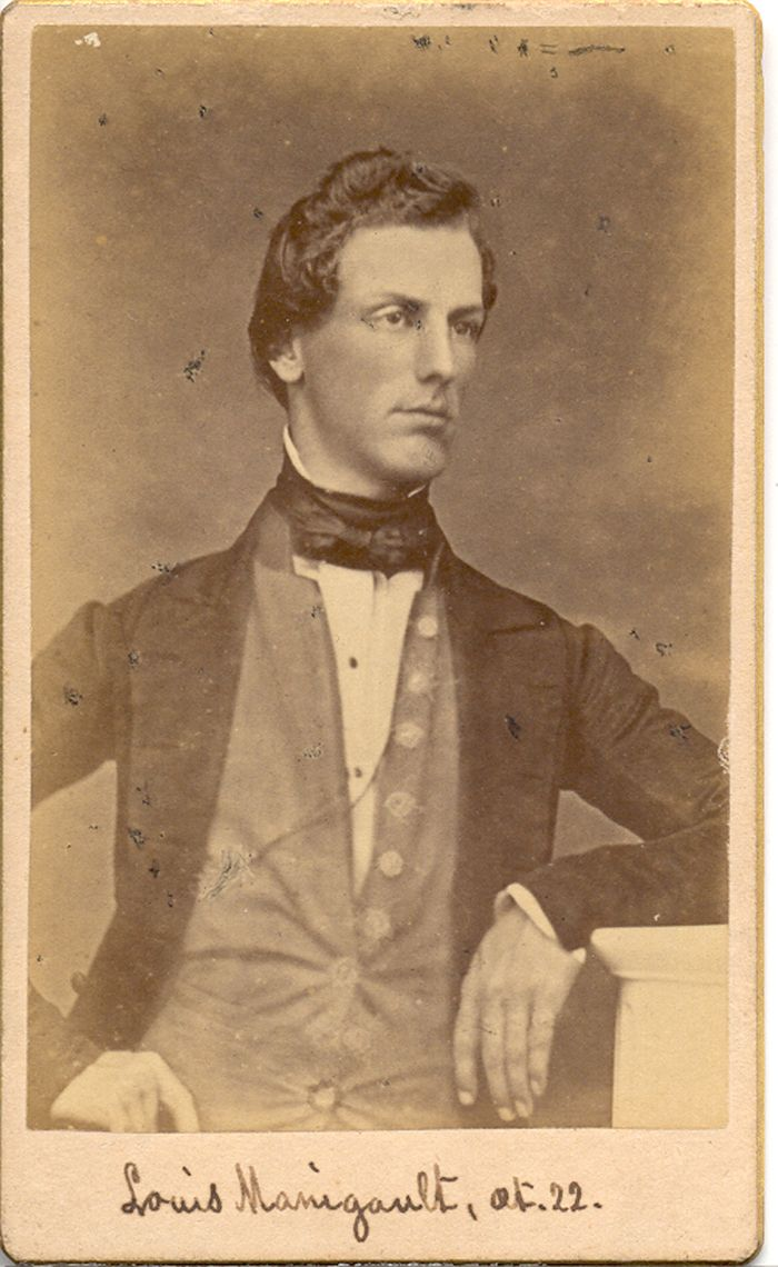 Louis Manigault (1828-1899) at age 22.  The carte de visite was taken at the studio of F.A. Nowell located at 263 King Street, Charleston, South Carolina. Louis is well-known in college circles as a founder of Alpha Sigma Phi. Charleston Museum