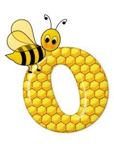 Alfabeto de abeja sobre letras de panal. - Oh my Alfabetos!