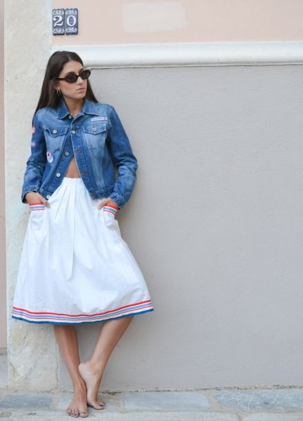 Vintage 50's Skirt with Blue-Red Stripes