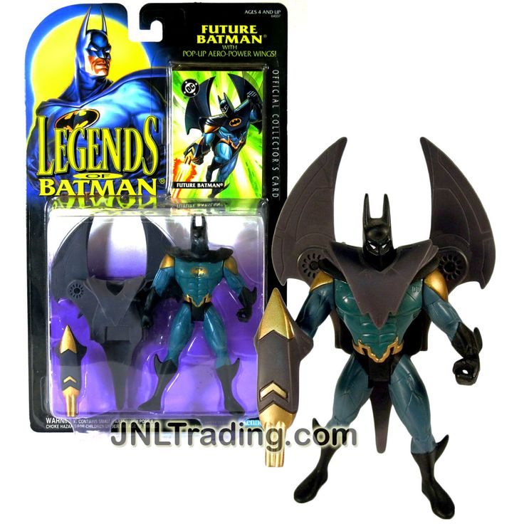 Kenner Year 1994 Legends of Batman Series 5-1/2 Inch Tall Figure - FUTURE BATMAN with Pop-Up Aero-Power Wings, Blaster & Official Collector's Card