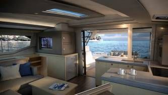 New 42 Fountaine Pajot sailing catamaran  - saloon and galley