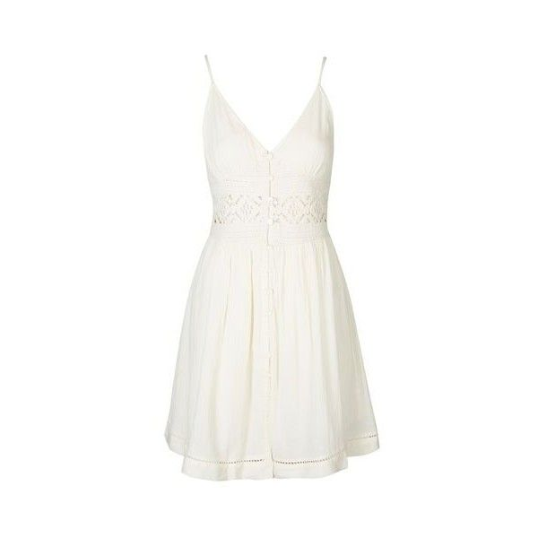 TopShop Petite Crochet Detail Sundress ($46) ❤ liked on Polyvore featuring dresses, cream, white cotton sundress, topshop dresses, white button up dress, cotton sun dresses and white strappy dress