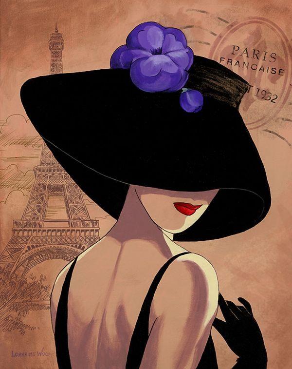 Картинка дамы в шляпке