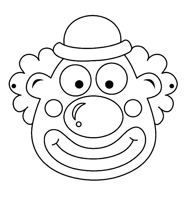 clown-circus masker kleurplaat