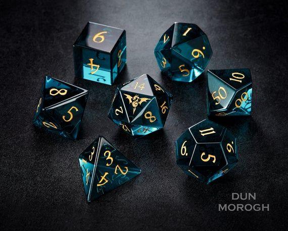 Dark Blue Zircon Glass Dnd Dice Set Gemstone Dice Set Stone Dice