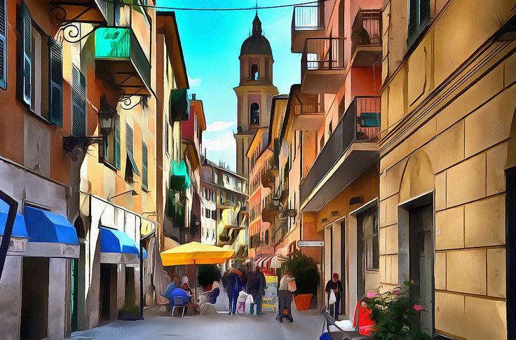The narrow streets of Rapallo, Liguria