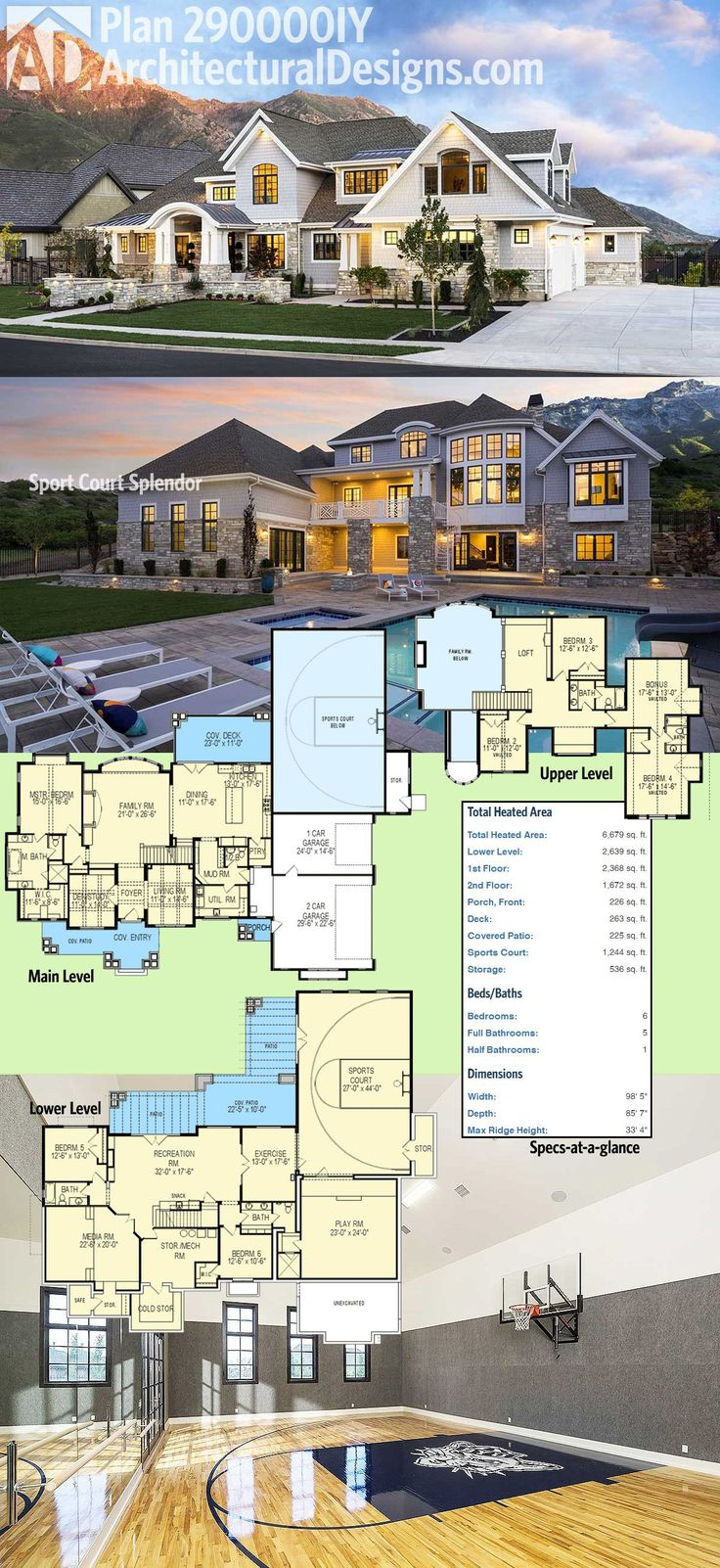 Plan 23364JD Luxury on 3 Levels