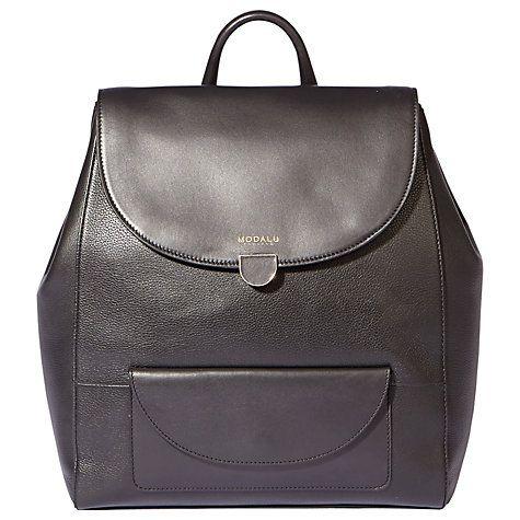 Buy Modalu Flora Leather Backpack, Black Online at johnlewis.com