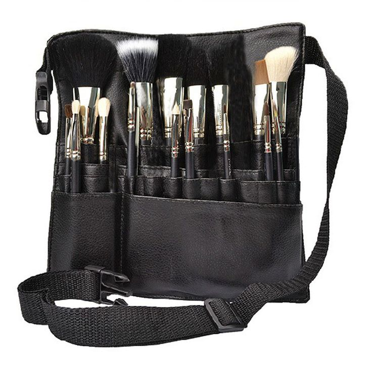 22 Pockets Makeup Brush Bag Cosmetic Products PVC Apron with Artist Belt Strap #Unbranded