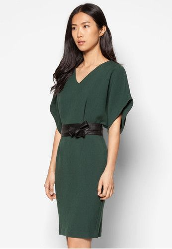 Belted Blouson Midi Dress