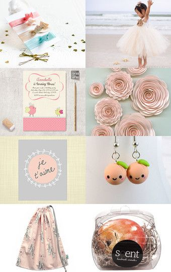 A beautiful treasury called Peach Blossom featuring Little Alligator's ballet bag. By Tatjanajewellery on Etsy.