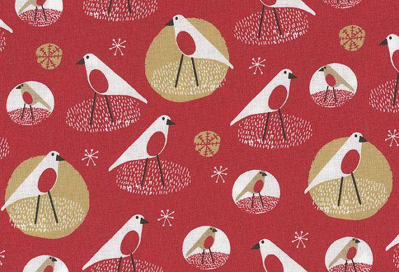 Festive Robins Print fabric  half meter  100% by fabricsandfrills