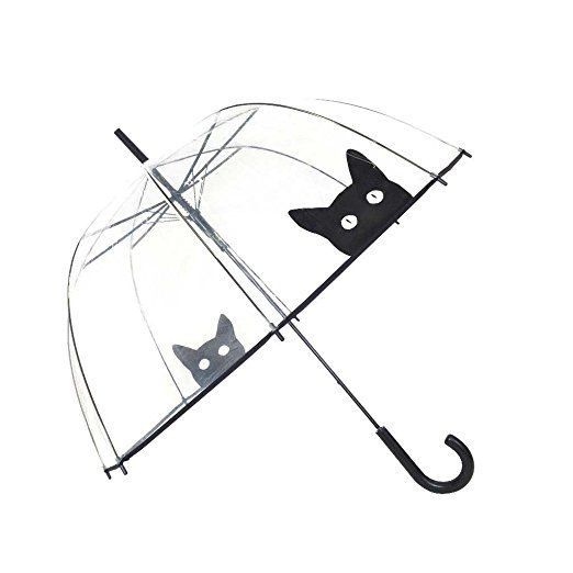 SMATI transparenter Automatik-Stockschirm Glockenform mit Katze