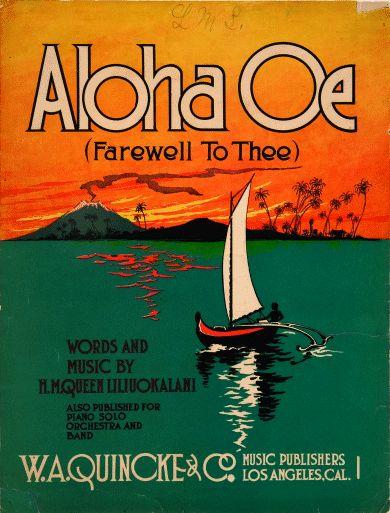 Aloha Oe sheet music, 1912