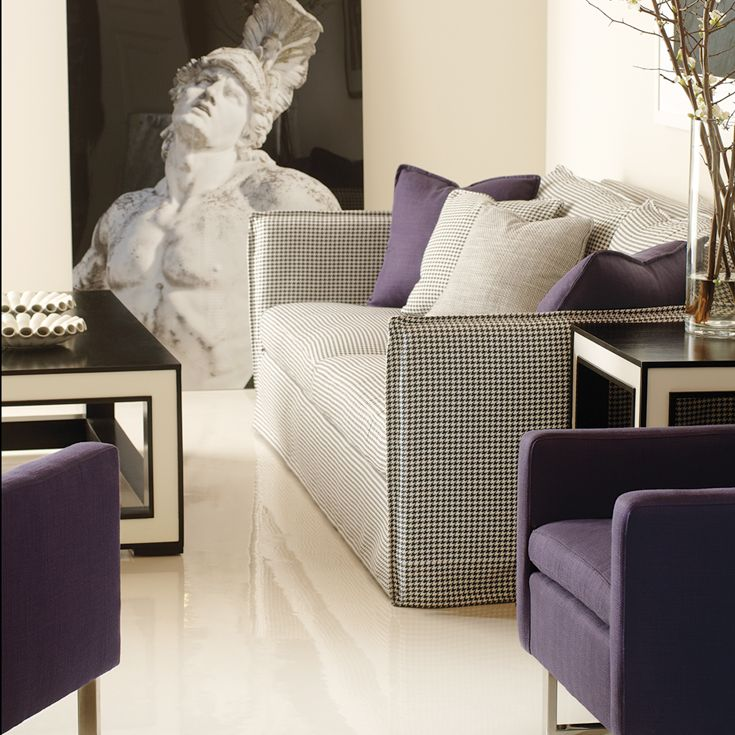 ron fiore century furniture. bernhardt interiors black and white with purple gerston slipcovered tuxuedo sofa in houndstooth woven creative direction ron fiore century furniture r