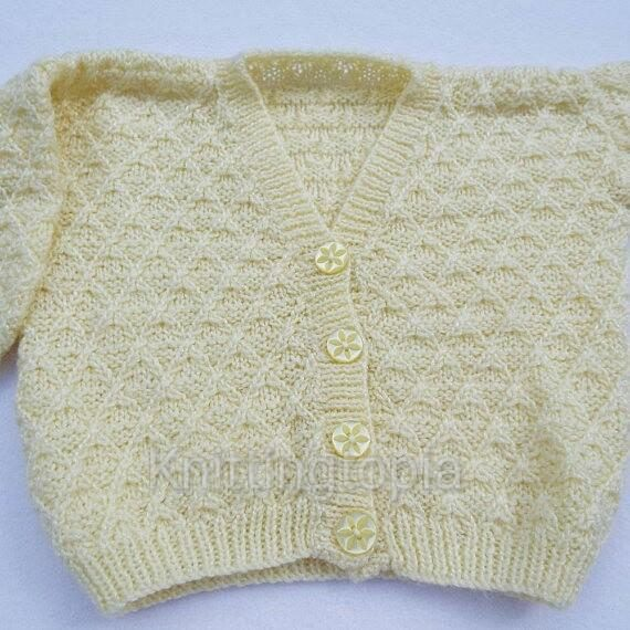 Hand knitted baby cardigan to fit 22 inch chest - lemon - V neck - knitted baby  £20.00