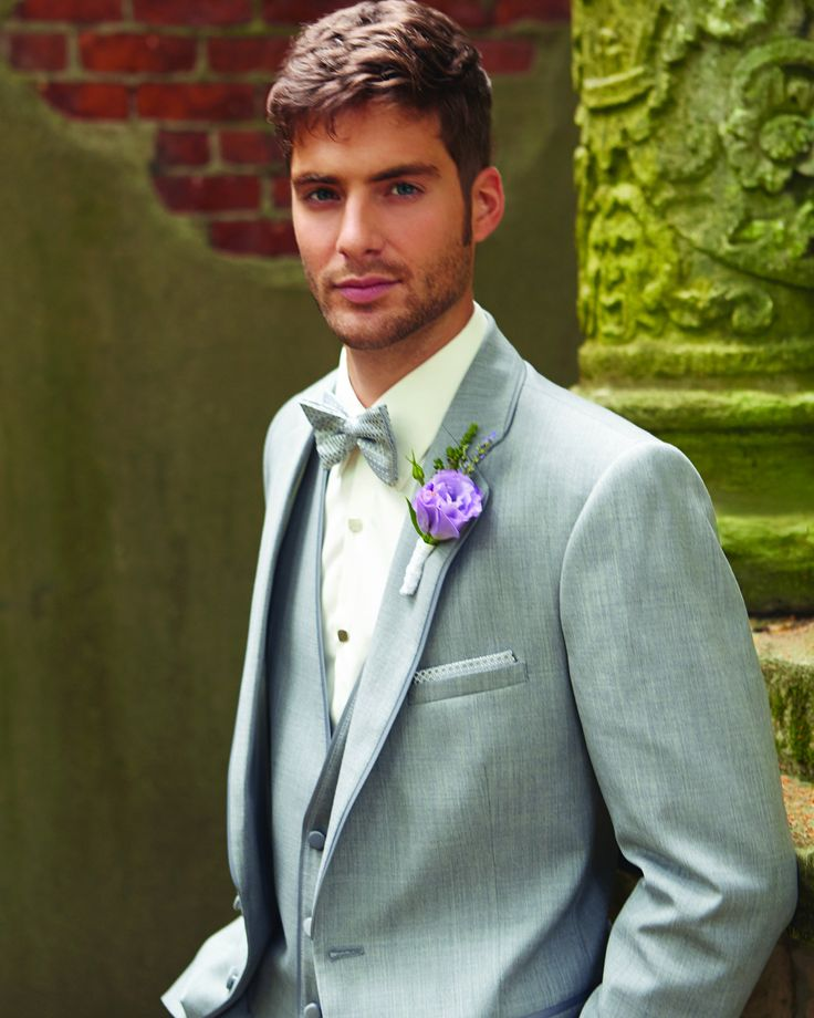 Be the life of the party in this heather gray tuxedo. Fashion Color and modern fit will be sure to turn heads.    Modern Fit Two Button Self Notch Lapel with a Satin Piped trim. 100% Luxurious Fine Wool.