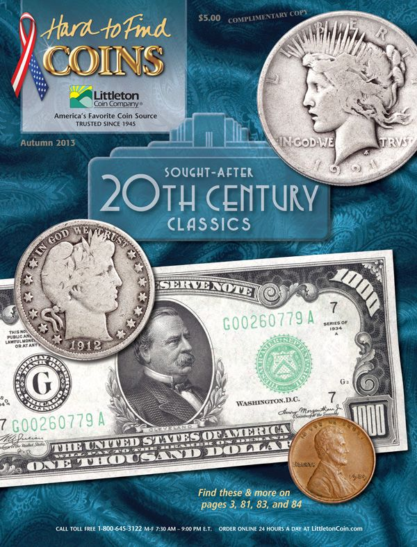 Littleton's Autumn 2013 Hard to Find catalog cover featuring a Peace Dollar and $10,000 note