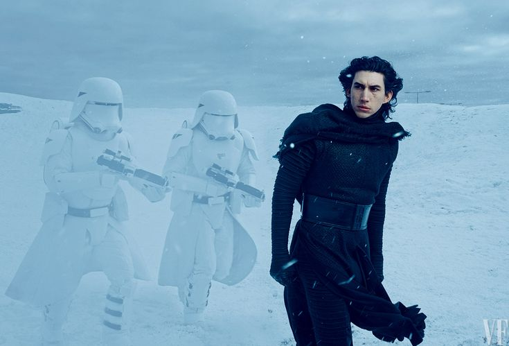 Next-generation bad guy Kylo Ren (Adam Driver) commands snowtroopers loyal to the evil First Order on the frozen plains of their secret base.